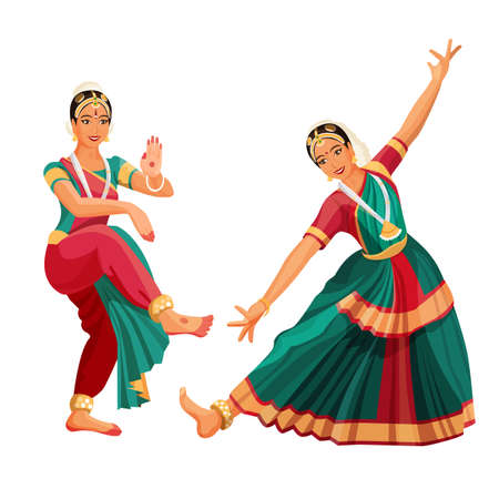 Illustration pour Woman dancer in national indian cloth dancing Bharatanatyam folk dance. - image libre de droit
