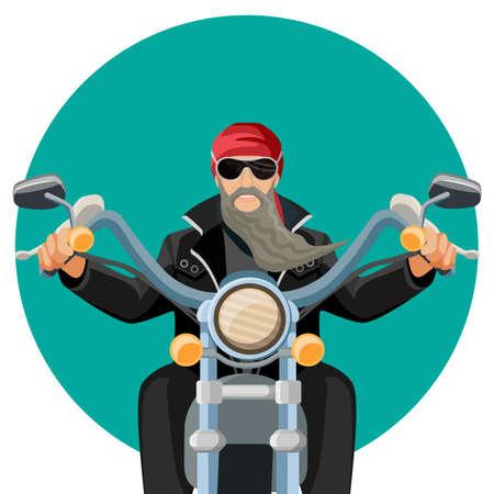 Illustration pour Biker wearing leather clothes with grey long beard riding motorcycle - image libre de droit