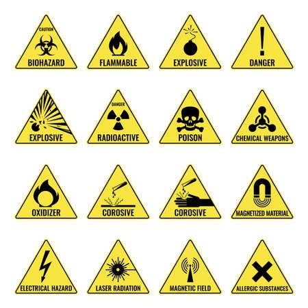 Illustration pour Hazard warning triangual yellow icon set on white - image libre de droit