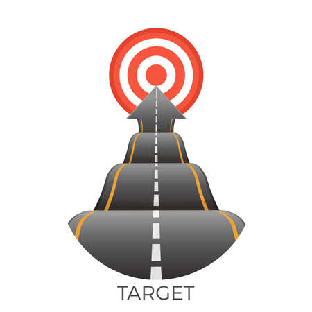 Illustration for Target at end of bumpy road going to goal vector - Royalty Free Image