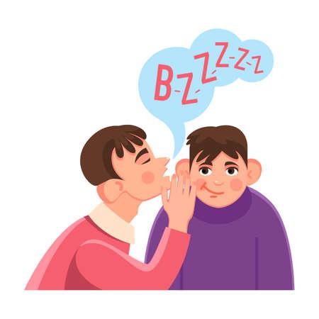 Man whispers secret in friends big ear with speech cloud