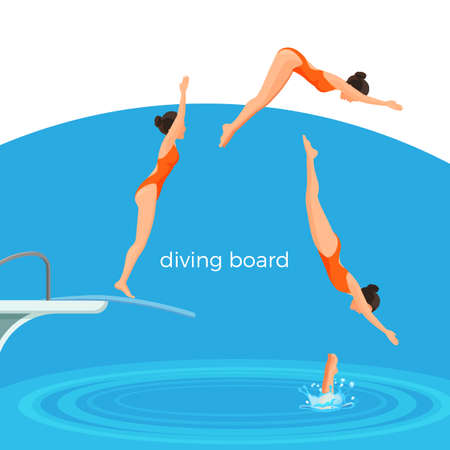 Illustration pour Diving board and female swimmer in swimsuit that jumps - image libre de droit