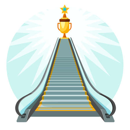 Illustration pour Way to success conceptual poster with escalator moving up stairs - image libre de droit