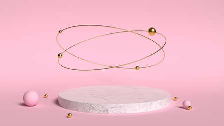 Foto de 3d abstract  render. Pink platform for product display. Interior podium place. Blank decoration template for design. - Imagen libre de derechos