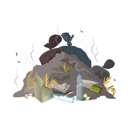 Illustration for Garbage dump. Trash, rubbish and waste environment pollution. Ecology problem concept. Vector illustration - Royalty Free Image