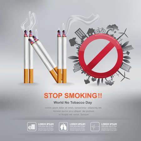 Illustration pour World No Tobacco Day Vector Concept Stop Smoking - image libre de droit