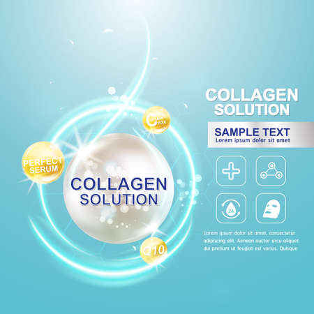 Illustration for Collagen Serum and Vitamin Background Concept Skin Care Cosmetic. - Royalty Free Image