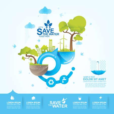 Illustration pour Save Water Vector Concept Saving - image libre de droit