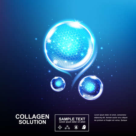 Illustration pour Collagen Serum and Vitamin Beauty Concept Skin Care Cosmetic. - image libre de droit