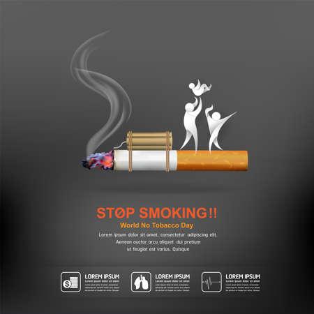 Illustration pour World No Tobacco Day Vector Concept Poster Stop Smoking Template. - image libre de droit