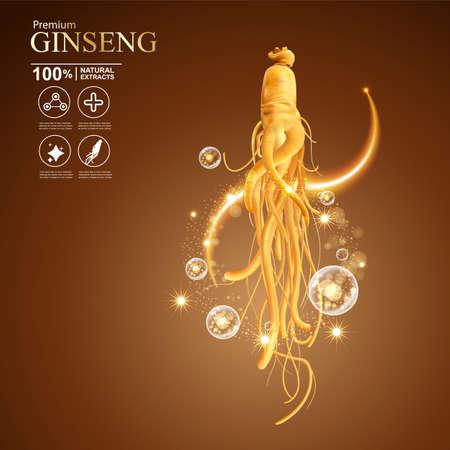 Illustration pour Concept Ginseng Skin Care Cosmetic - image libre de droit