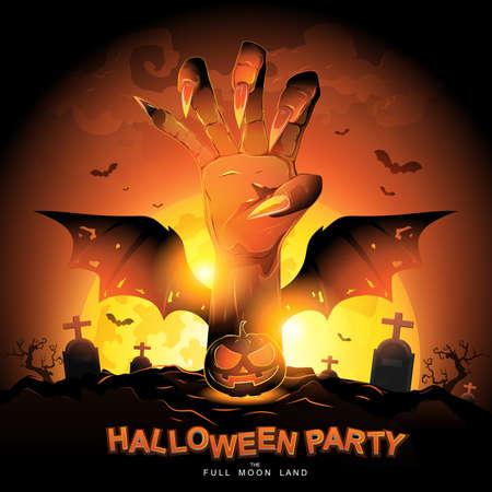 Illustration pour Halloween Party Vector Concept Full Moon Land. - image libre de droit