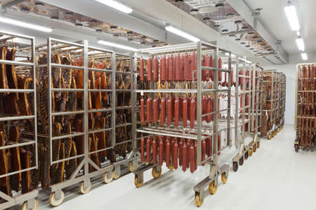 Photo for Fresh traditional sausages ready for drying in a smokehouse of a  meat processing industry - Royalty Free Image