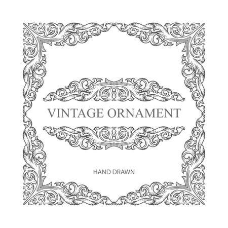 Photo pour Vintage baroque victorian frame and design elements. Hand drawn retro style floral scroll frame ornament. Part of set. - image libre de droit