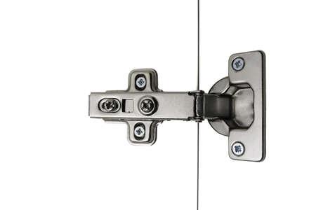 Hinge Kitchen assembled on white doors, steel, isolation, simple