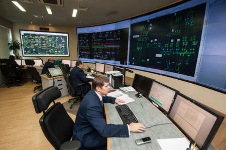 Saint-Petersburg, Russia - September 22, 2016: Control Point City energy company. Managers control the distribution of energy flows on areas of large cities on the power grid.