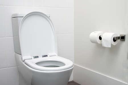 Foto de white home toilet closeup - Imagen libre de derechos