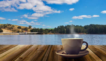 coffee cup on the nature background