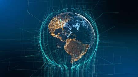 Foto de Visible Earth Particle Rotation Technology Concept. Digital Hologram Sight Futuristic Cyberspace Business Background. Abstract Lines Network Grid Outer Space Exploration 3D Animation - Imagen libre de derechos