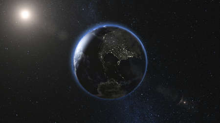 Photo pour Realistic Earth, rotating in space against the background of the starry sky and the Sun (loop). Planet change of day and night. High detail 3D Render. - image libre de droit
