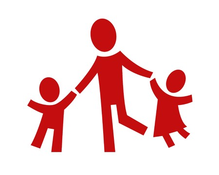 A pictogram showing an adult with two children
