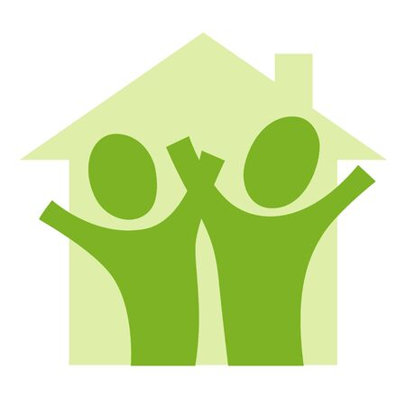 A pictogram with a couple in a house
