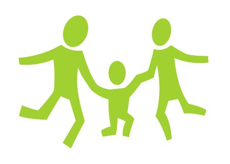 A pictogram with a happy jumping family