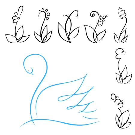 A set of linear flowers and blue swan