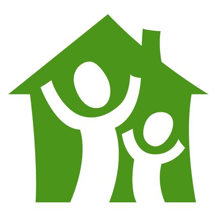 A pictogram showing a child with an adult being glad in their own house