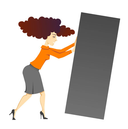 A sketch of a woman pushing a block