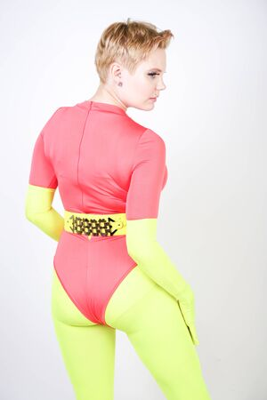 Photo for curvy girl in spandex leotard with pantyhose and gloves - Royalty Free Image