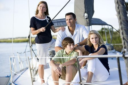 Family vacation together on sailboat, on Florida intracoastal waterway