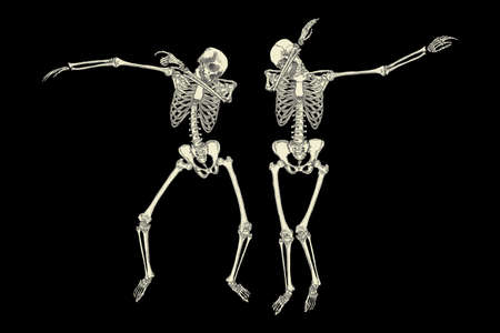 Human skeletons dancing DAB like friends, perform dabbing move gesture in group, posing isolated on black background, vector.