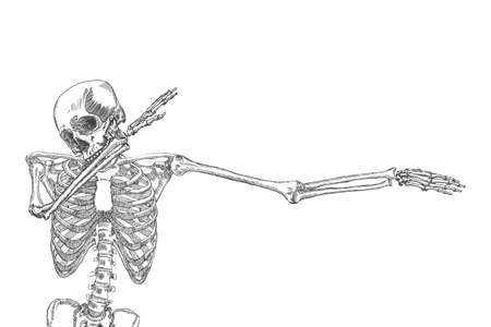 Human skeleton dancing DAB, perform dabbing move gesture, posing on white background. Vector.