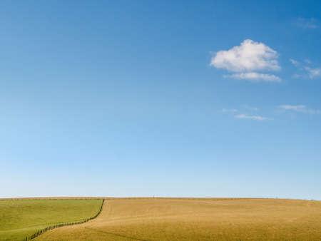 Photo pour Minimalist meadow, field landscape, with blue sky and small cloud. England. - image libre de droit
