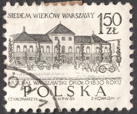 MOSCOW, RUSSIA - CIRCA JANUARY, 2016: a post stamp printed in POLAND shows a building of the Town Hall, Warsaw, the series Warsaw - 7 Centuries. 700th Anniversary of Warsaw, circa 1965
