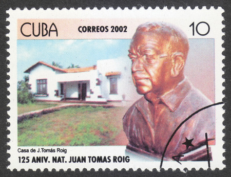 MOSCOW, RUSSIA - CIRCA SEPTEMBER, 2016: a stamp printed in CUBA, the series 'The 125th Anniversary of the Birth of Juan Thomas Roig, Botanist, circa 2002