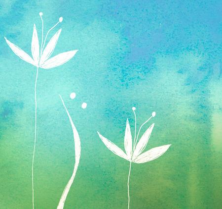 Photo pour white flower on green painted watercolor background - image libre de droit