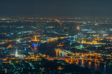 Photo for City of Bangkok  where is the capital city of Thailand covering with air pollution creating unclear scene and unhealthy during twilight - Royalty Free Image