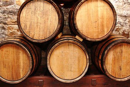 storage of oak wine barrells in a cellar
