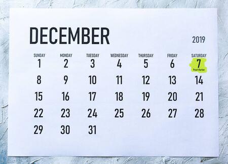 Pearl Harbor day - Saturday, December 7 marked on December 2019 calendar