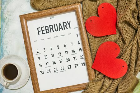 Photo for View from above to monthly February calendar - Royalty Free Image
