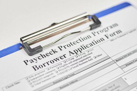 Photo pour Application form. Paycheck Protection Program Borrower Application Form - image libre de droit