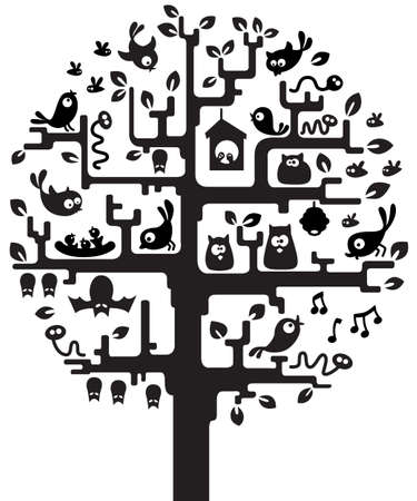 Silhouette of stylized tree with inhabitants