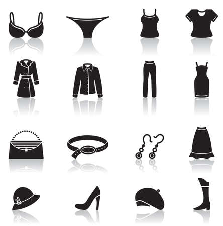 Icons set of female clothes and accessory