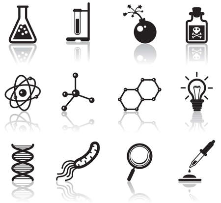 Black minimalistic science icons set