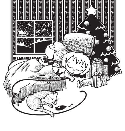 The children were asleep, waiting for Santa on Christmas night