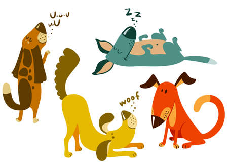 Illustration pour Cute dogs set.  - image libre de droit