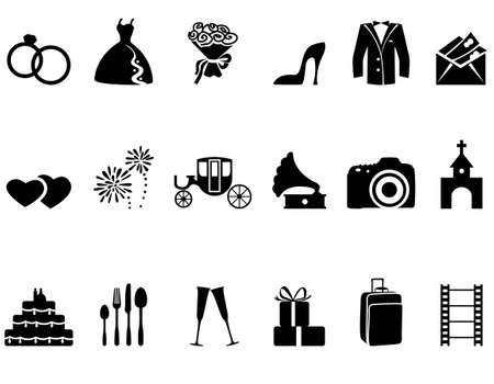 Foto de Set of minimalistic wedding icons - Imagen libre de derechos