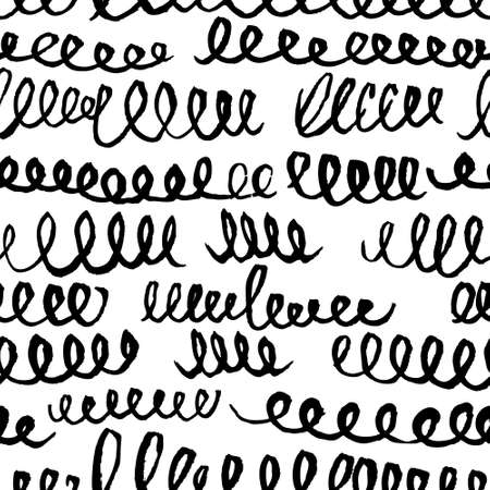 Hand drawn artistic seamless pattern with abstract simply elements. Doodle ink background for textile and wrapping paper